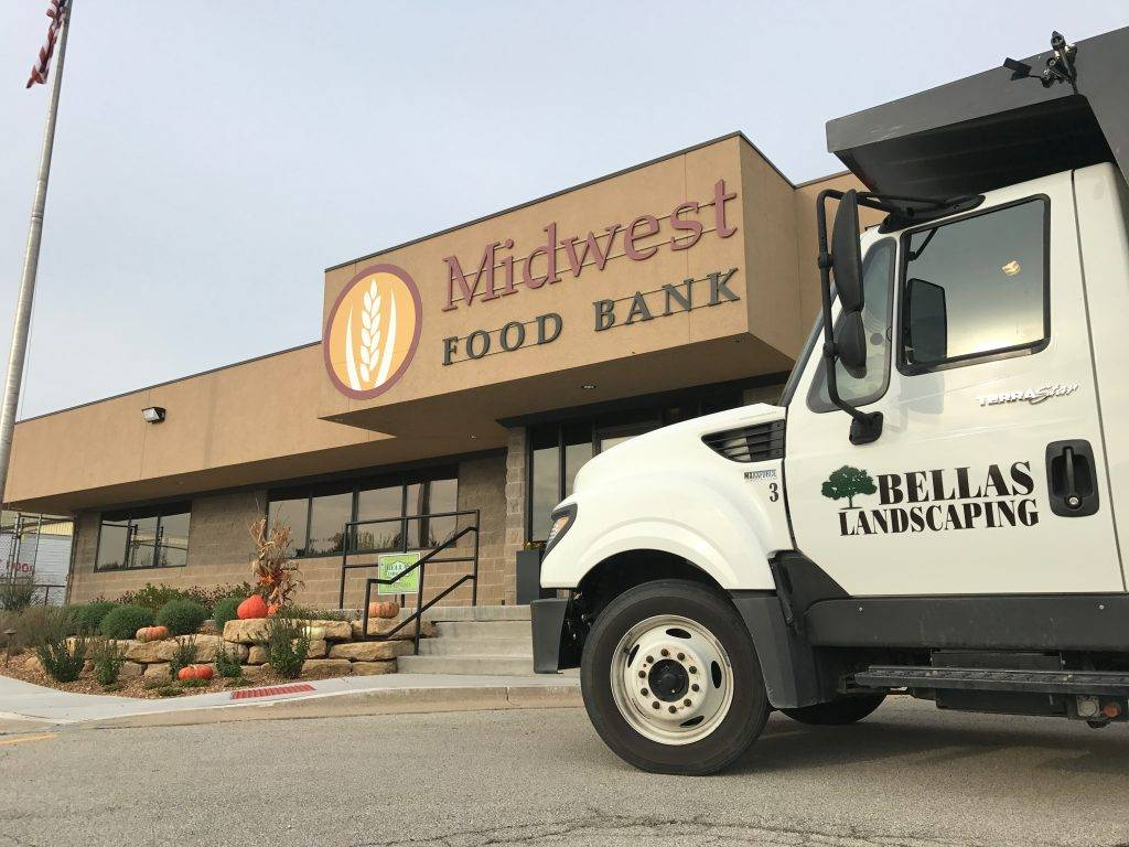 Bellas Landscaping Dump Truck at Midwest Food Bank in Normal, Illinois