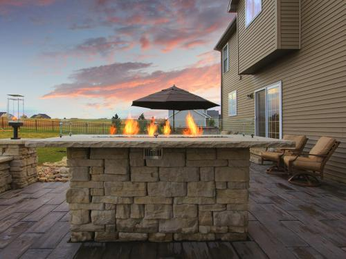 Rustic Backyard with Fire Features